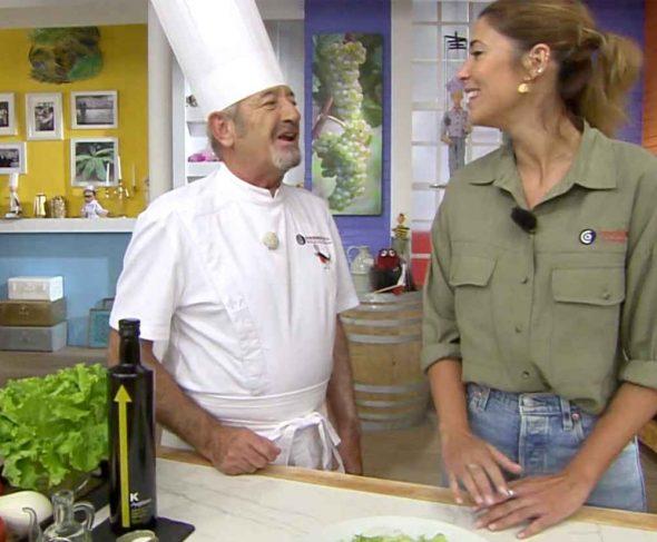 BOJ and Karlos Arguiñano, together making expert recipes.